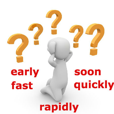 early、fast、soon、quickly、rapidlyの違いとは?